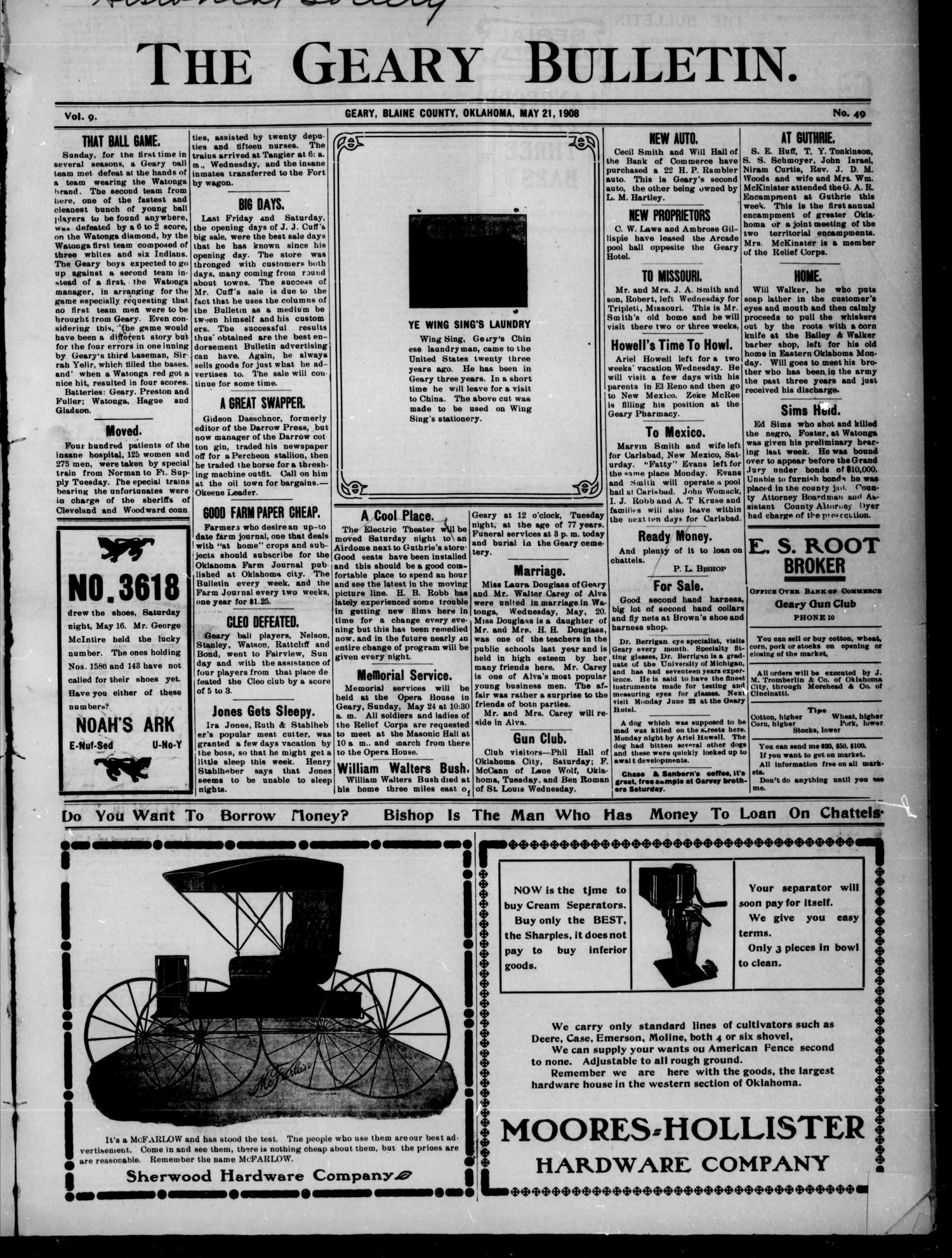 The Geary Bulletin. (Geary, Okla.), Vol. 9, No. 49, Ed. 1 Thursday, May 21, 1908                                                                                                      [Sequence #]: 1 of 6