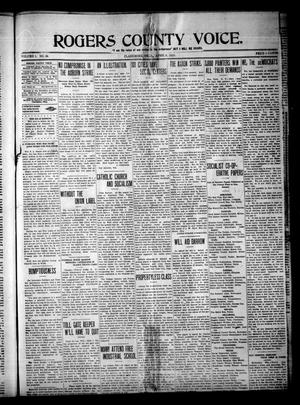 Primary view of object titled 'Rogerts County Voice. (Claremore, Okla.), Vol. 1, No. 39, Ed. 1 Saturday, April 5, 1913'.