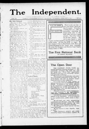 Primary view of object titled 'The Independent. (Cashion, Okla.), Vol. 3, No. 40, Ed. 1 Thursday, February 9, 1911'.