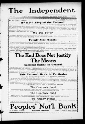 Primary view of object titled 'The Independent. (Cashion, Okla.), Vol. 3, No. 47, Ed. 1 Thursday, March 30, 1911'.