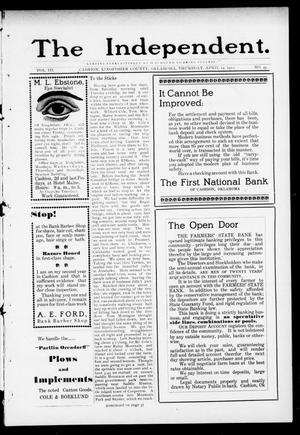 Primary view of object titled 'The Independent. (Cashion, Okla.), Vol. 3, No. 49, Ed. 1 Thursday, April 13, 1911'.
