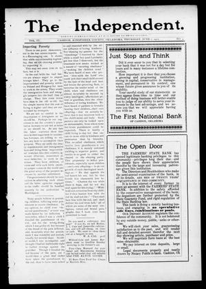 Primary view of object titled 'The Independent. (Cashion, Okla.), Vol. 4, No. 4, Ed. 1 Thursday, June 1, 1911'.