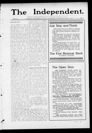 Primary view of object titled 'The Independent. (Cashion, Okla.), Vol. 4, No. 6, Ed. 1 Thursday, June 15, 1911'.