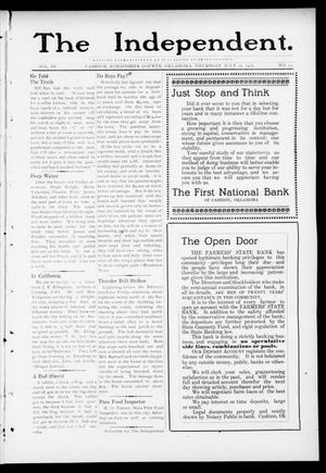 Primary view of object titled 'The Independent. (Cashion, Okla.), Vol. 4, No. 12, Ed. 1 Thursday, July 27, 1911'.