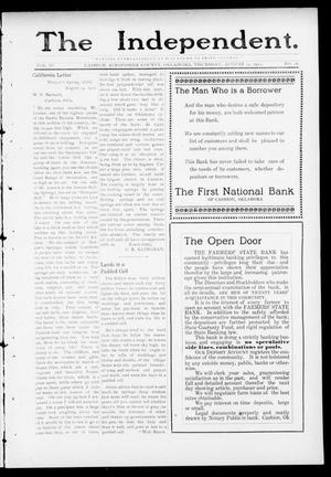 Primary view of object titled 'The Independent. (Cashion, Okla.), Vol. 4, No. 16, Ed. 1 Thursday, August 24, 1911'.