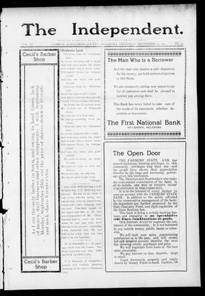 Primary view of object titled 'The Independent. (Cashion, Okla.), Vol. 4, No. 20, Ed. 1 Thursday, September 21, 1911'.