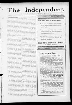 Primary view of object titled 'The Independent. (Cashion, Okla.), Vol. 4, No. 21, Ed. 1 Thursday, September 28, 1911'.