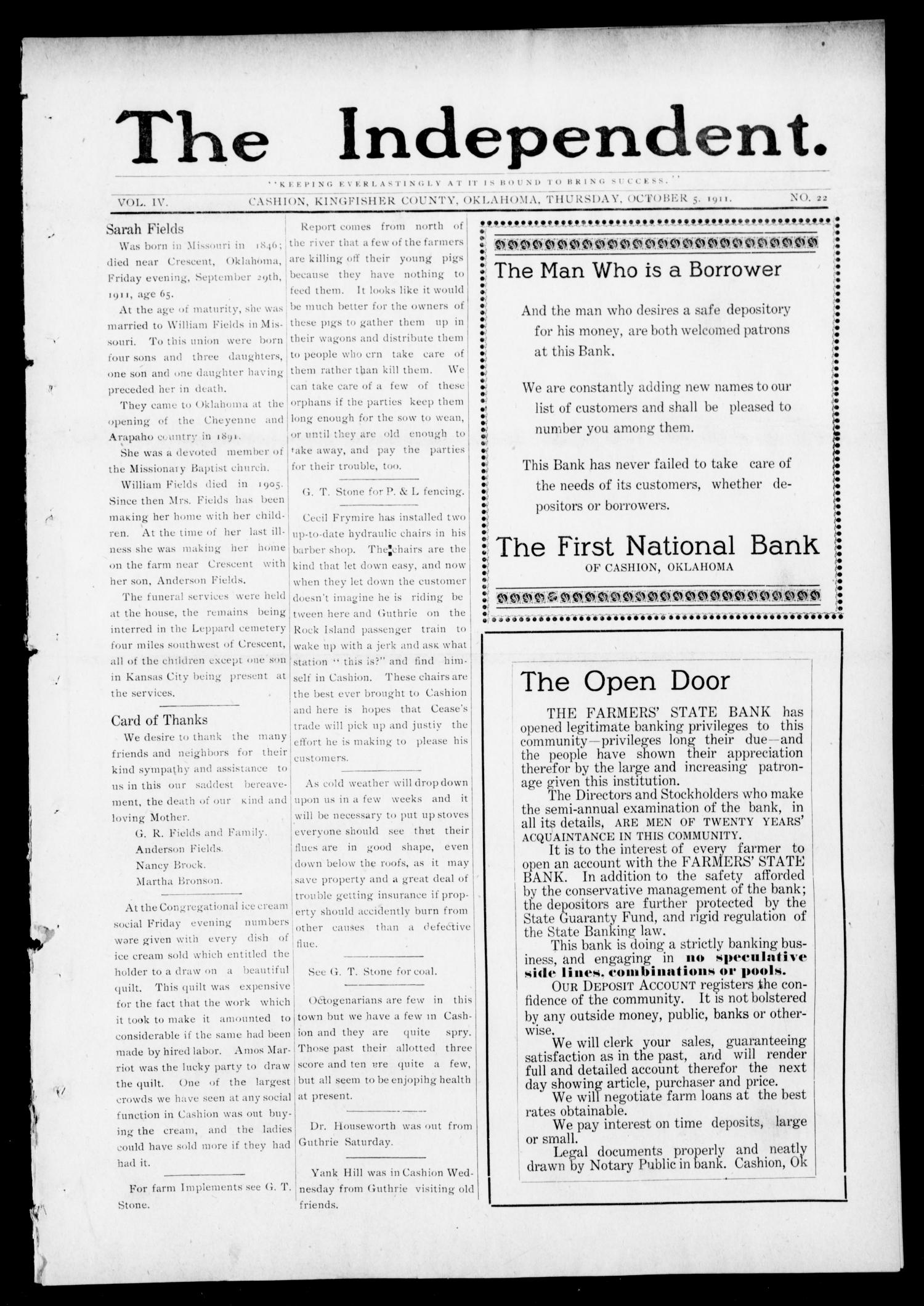 The Independent. (Cashion, Okla.), Vol. 4, No. 22, Ed. 1 Thursday, October 5, 1911                                                                                                      [Sequence #]: 1 of 8
