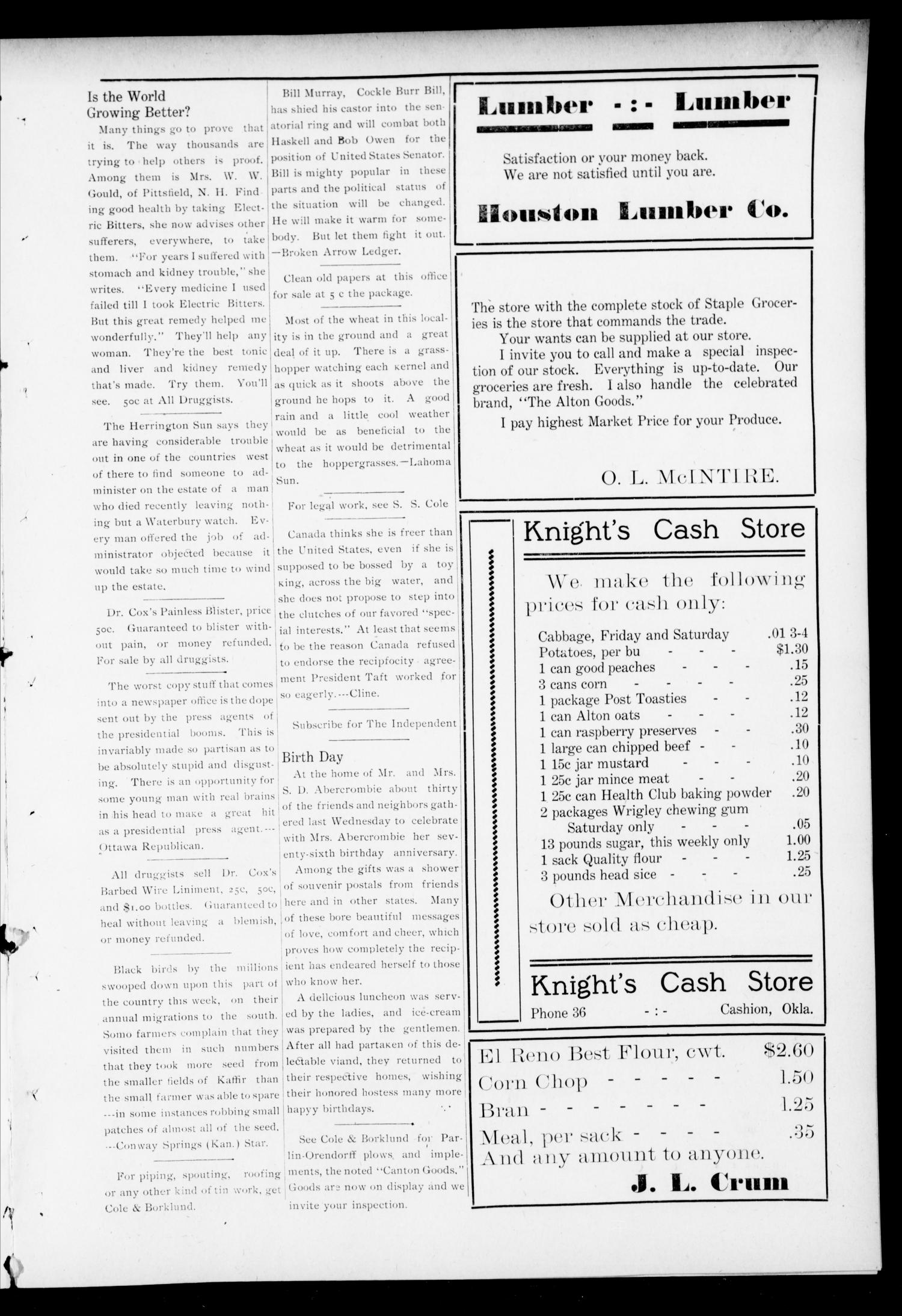 The Independent. (Cashion, Okla.), Vol. 4, No. 22, Ed. 1 Thursday, October 5, 1911                                                                                                      [Sequence #]: 3 of 8