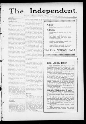 Primary view of object titled 'The Independent. (Cashion, Okla.), Vol. 4, No. 25, Ed. 1 Thursday, October 26, 1911'.