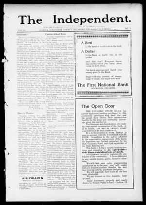 Primary view of object titled 'The Independent. (Cashion, Okla.), Vol. 4, No. 26, Ed. 1 Thursday, November 2, 1911'.