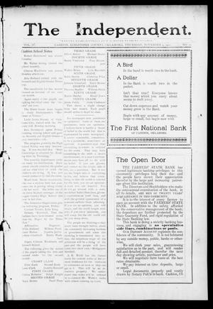 Primary view of object titled 'The Independent. (Cashion, Okla.), Vol. 4, No. 27, Ed. 1 Thursday, November 9, 1911'.