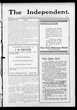 Primary view of object titled 'The Independent. (Cashion, Okla.), Vol. 4, No. 37, Ed. 1 Thursday, January 18, 1912'.