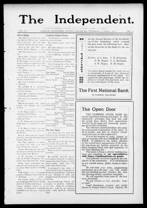 Primary view of object titled 'The Independent. (Cashion, Okla.), Vol. 4, No. 44, Ed. 1 Thursday, March 7, 1912'.