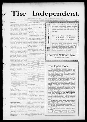 Primary view of object titled 'The Independent. (Cashion, Okla.), Vol. 4, No. 48, Ed. 1 Thursday, April 4, 1912'.