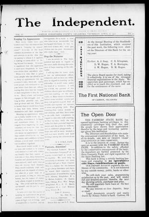 Primary view of object titled 'The Independent. (Cashion, Okla.), Vol. 4, No. 50, Ed. 1 Thursday, April 18, 1912'.