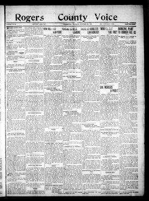 Primary view of object titled 'Rogers County Voice. (Collinsville, Okla.), Vol. 1, No. 20, Ed. 1 Saturday, November 29, 1913'.