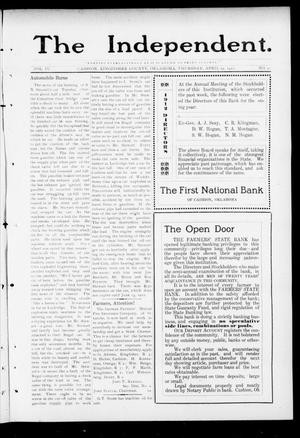 Primary view of object titled 'The Independent. (Cashion, Okla.), Vol. 4, No. 51, Ed. 1 Thursday, April 25, 1912'.