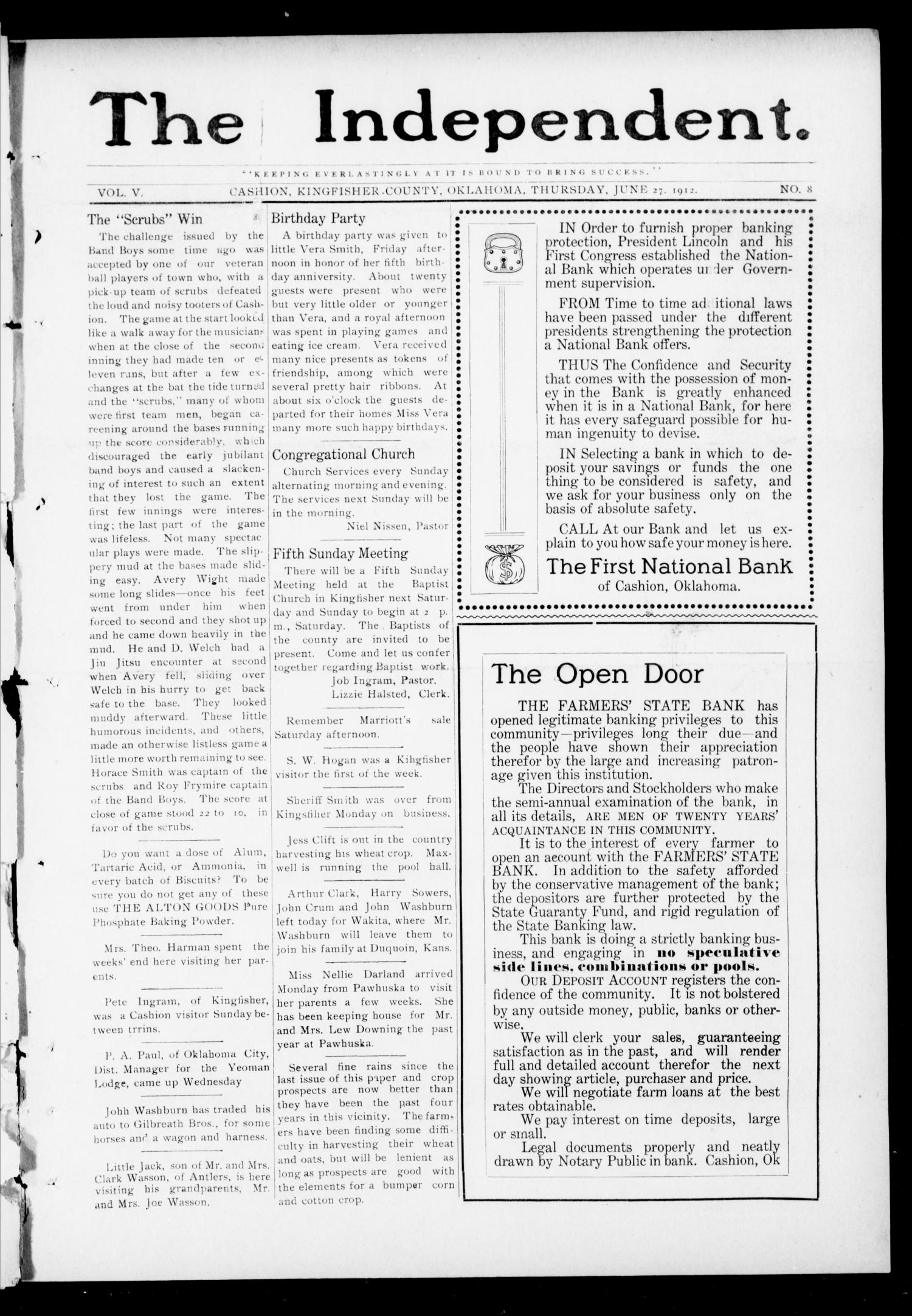The Independent. (Cashion, Okla.), Vol. 5, No. 8, Ed. 1 Thursday, June 27, 1912                                                                                                      [Sequence #]: 1 of 8