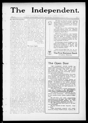 Primary view of object titled 'The Independent. (Cashion, Okla.), Vol. 5, No. 9, Ed. 1 Thursday, July 4, 1912'.
