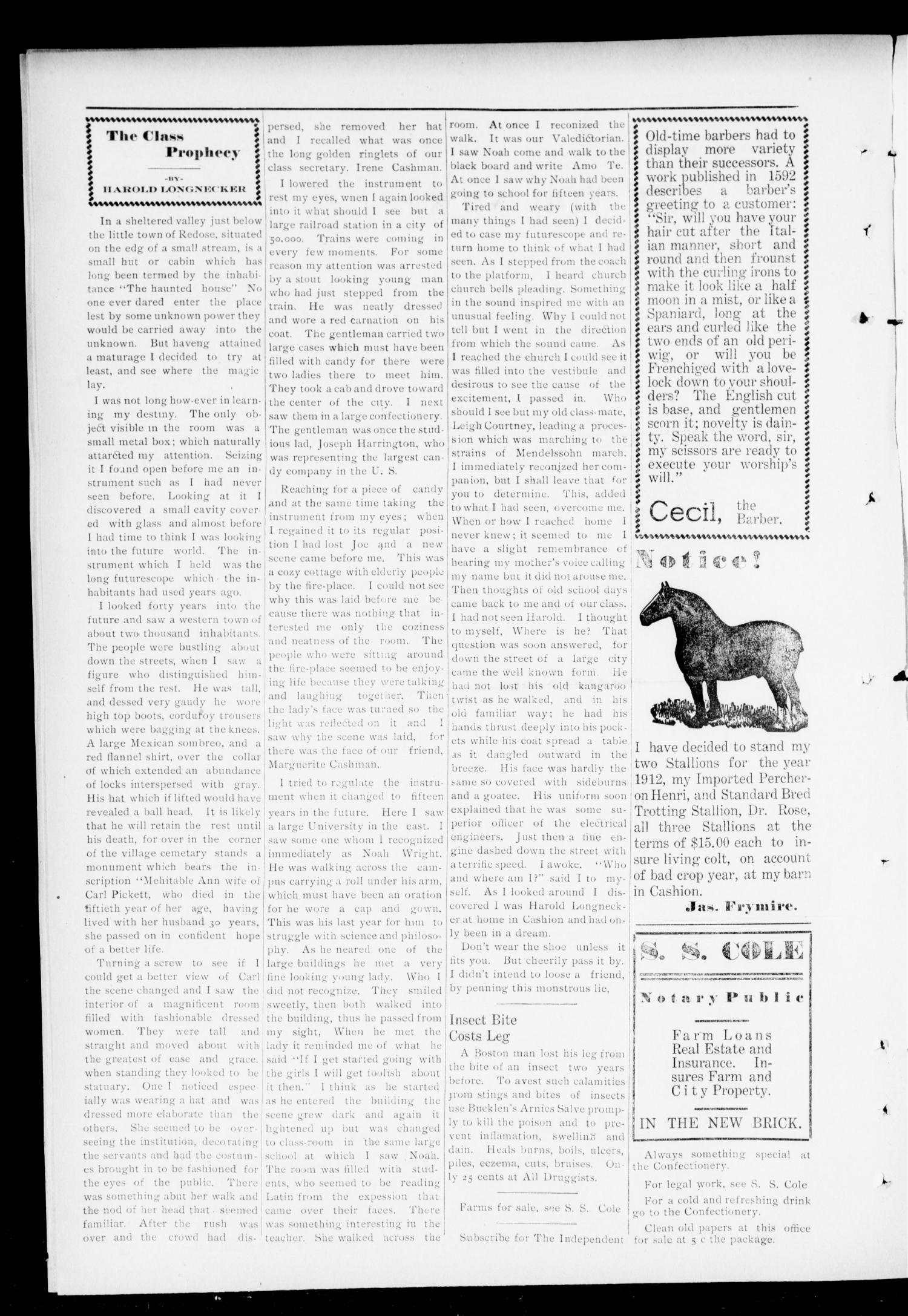 The Independent. (Cashion, Okla.), Vol. 5, No. 10, Ed. 1 Thursday, July 11, 1912                                                                                                      [Sequence #]: 2 of 8
