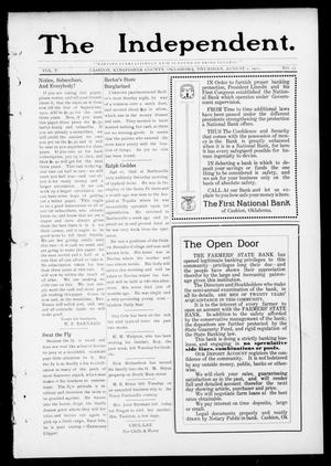 Primary view of object titled 'The Independent. (Cashion, Okla.), Vol. 5, No. 13, Ed. 1 Thursday, August 1, 1912'.