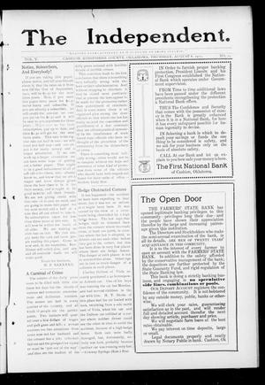 Primary view of object titled 'The Independent. (Cashion, Okla.), Vol. 5, No. 14, Ed. 1 Thursday, August 8, 1912'.
