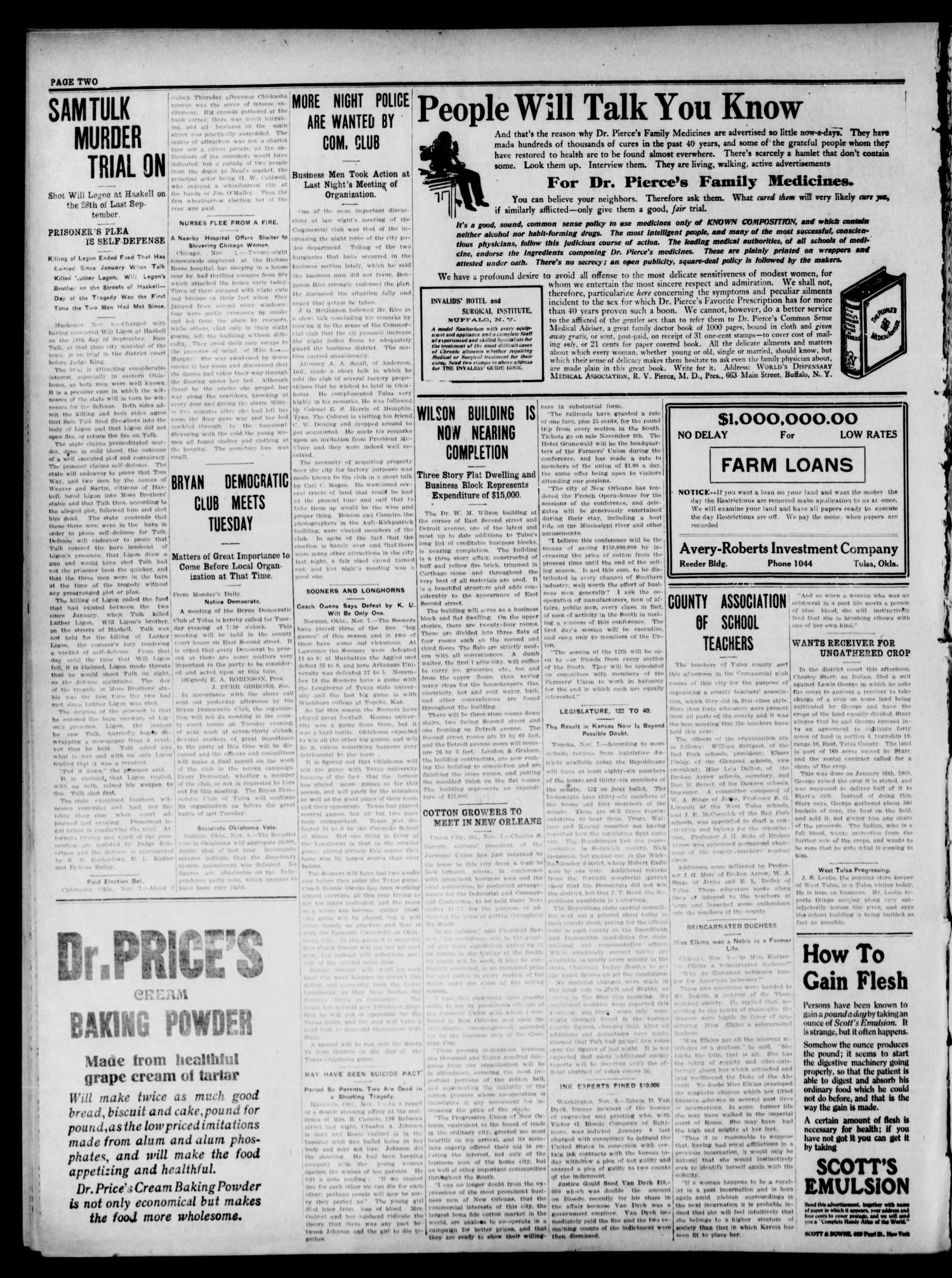 The Tulsa Democrat. (Tulsa, Okla.), Vol. 9, No. 45, Ed. 1 Thursday, November 12, 1908                                                                                                      [Sequence #]: 2 of 8