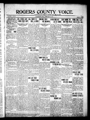 Primary view of object titled 'Rogers County Voice. (Claremore, Okla.), Vol. 1, No. 32, Ed. 1 Saturday, February 15, 1913'.
