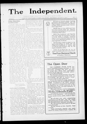 Primary view of object titled 'The Independent. (Cashion, Okla.), Vol. 5, No. 15, Ed. 1 Thursday, August 15, 1912'.