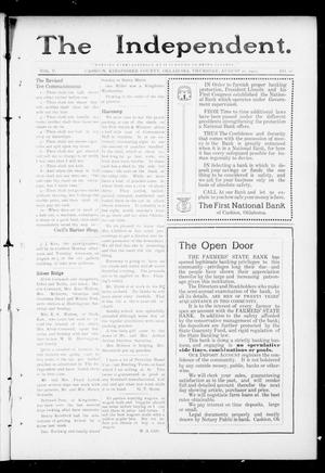 Primary view of object titled 'The Independent. (Cashion, Okla.), Vol. 5, No. 16, Ed. 1 Thursday, August 22, 1912'.