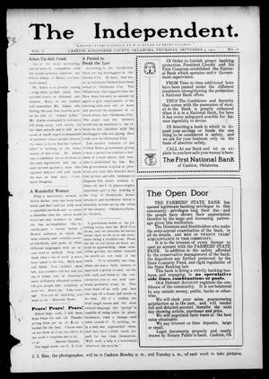 Primary view of object titled 'The Independent. (Cashion, Okla.), Vol. 5, No. 18, Ed. 1 Thursday, September 5, 1912'.