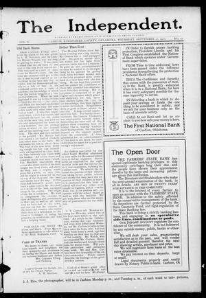 Primary view of object titled 'The Independent. (Cashion, Okla.), Vol. 5, No. 19, Ed. 1 Thursday, September 12, 1912'.