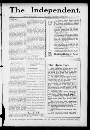 Primary view of object titled 'The Independent. (Cashion, Okla.), Vol. 5, No. 20, Ed. 1 Thursday, September 19, 1912'.