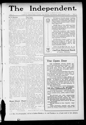 Primary view of object titled 'The Independent. (Cashion, Okla.), Vol. 5, No. 21, Ed. 1 Thursday, September 26, 1912'.
