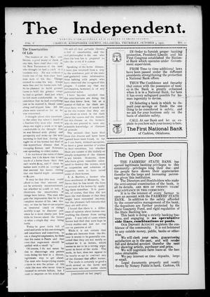 Primary view of object titled 'The Independent. (Cashion, Okla.), Vol. 5, No. 22, Ed. 1 Thursday, October 3, 1912'.
