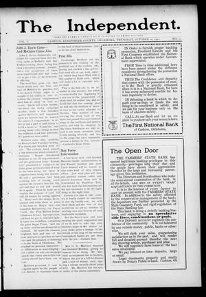 Primary view of object titled 'The Independent. (Cashion, Okla.), Vol. 5, No. 23, Ed. 1 Thursday, October 10, 1912'.