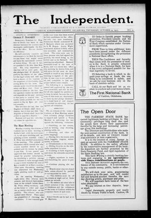 Primary view of object titled 'The Independent. (Cashion, Okla.), Vol. 5, No. 25, Ed. 1 Thursday, October 24, 1912'.