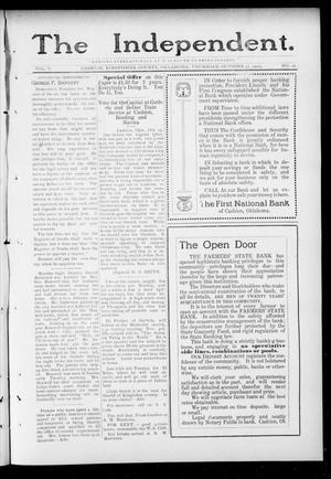 Primary view of object titled 'The Independent. (Cashion, Okla.), Vol. 5, No. 26, Ed. 1 Thursday, October 31, 1912'.