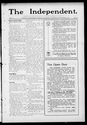Primary view of object titled 'The Independent. (Cashion, Okla.), Vol. 5, No. 29, Ed. 1 Thursday, November 21, 1912'.
