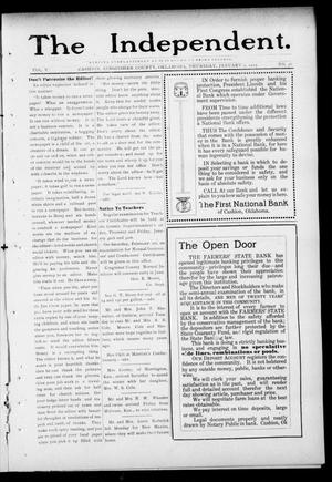 Primary view of object titled 'The Independent. (Cashion, Okla.), Vol. 5, No. 36, Ed. 1 Thursday, January 9, 1913'.