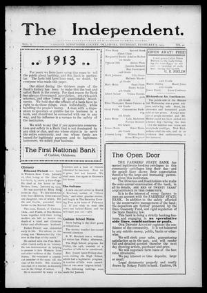 Primary view of object titled 'The Independent. (Cashion, Okla.), Vol. 5, No. 40, Ed. 1 Thursday, February 6, 1913'.