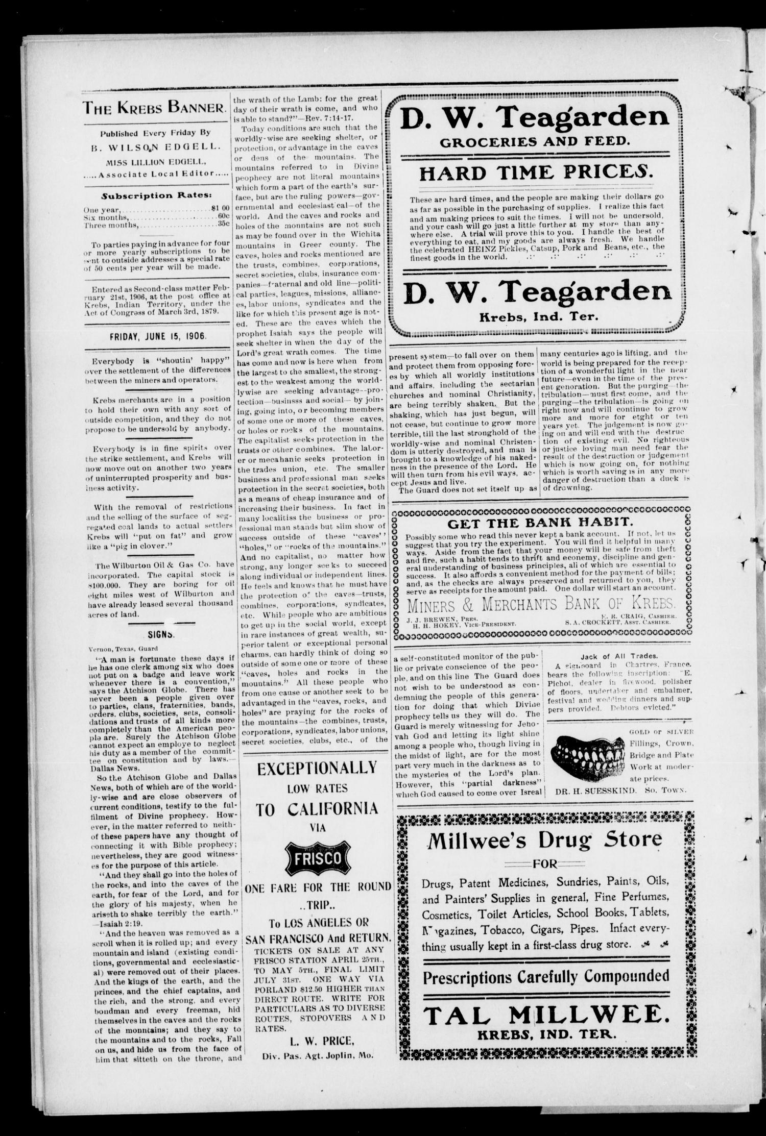 The Krebs Banner. (Krebs, Indian Terr.), Vol. 1, No. 24, Ed. 1 Friday, June 15, 1906                                                                                                      [Sequence #]: 6 of 8
