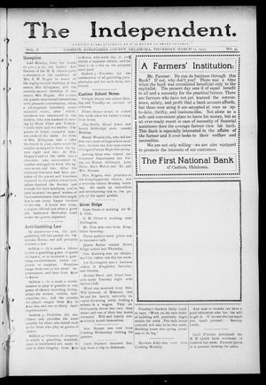 Primary view of object titled 'The Independent. (Cashion, Okla.), Vol. 5, No. 45, Ed. 1 Thursday, March 13, 1913'.