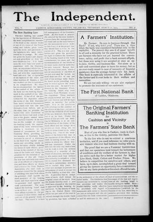 Primary view of object titled 'The Independent. (Cashion, Okla.), Vol. 5, No. 46, Ed. 1 Thursday, March 20, 1913'.
