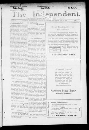 Primary view of object titled 'The Independent. (Cashion, Okla.), Vol. 11, No. 9, Ed. 1 Thursday, June 27, 1918'.