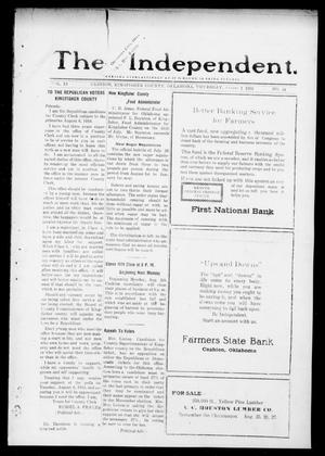 Primary view of object titled 'The Independent. (Cashion, Okla.), Vol. 11, No. 14, Ed. 1 Thursday, August 1, 1918'.
