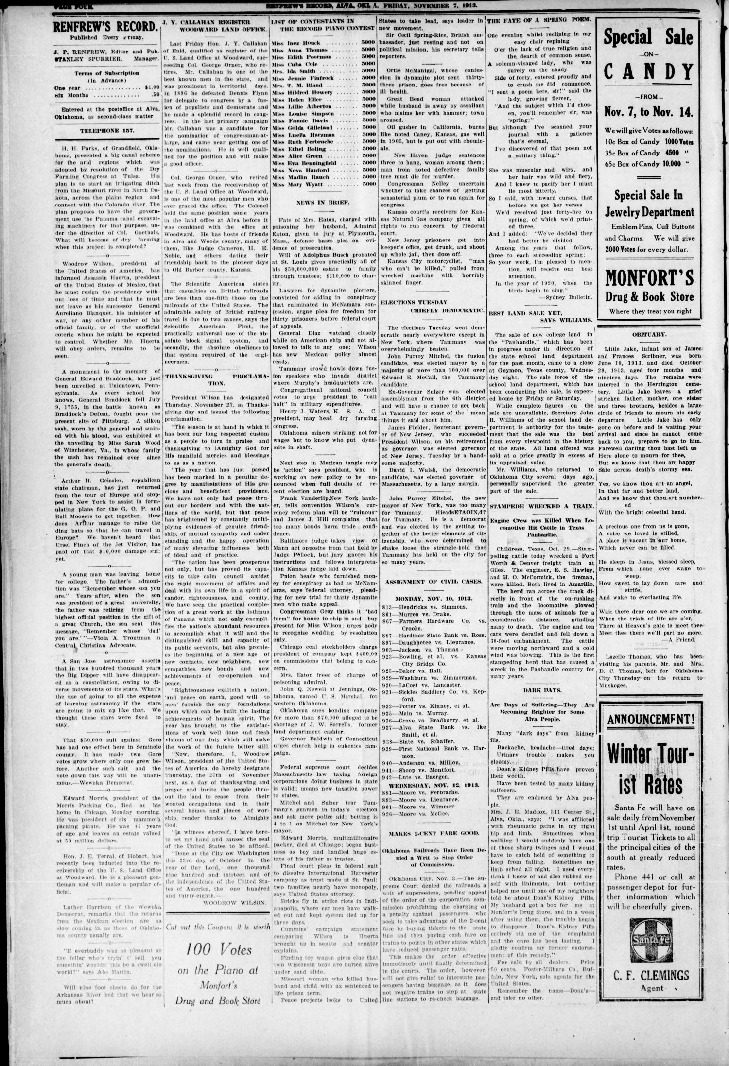 Renfrew's Record (Alva, Okla.), Vol. 12, No. 52, Ed. 1 Friday, November 7, 1913                                                                                                      [Sequence #]: 4 of 8