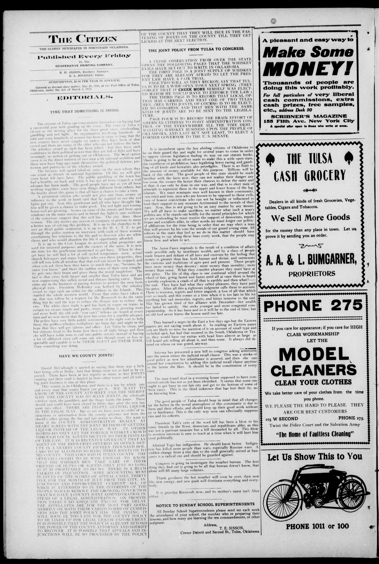 The Citizen (Tulsa, Okla.), Vol. 11, No. 23, Ed. 1 Friday, August 25, 1911                                                                                                      [Sequence #]: 4 of 8