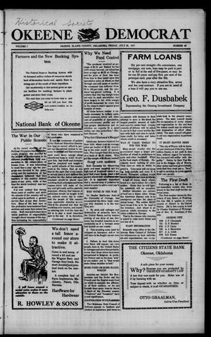 Primary view of object titled 'Okeene Democrat (Okeene, Okla.), Vol. 1, No. 46, Ed. 1 Saturday, July 28, 1917'.